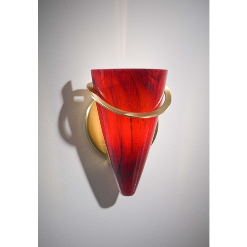 Holtkoetter Lighting Holtkoetter Modern Sconce Wall Light with Red Glass in Brushed Brass Finish 2977 BB MGR