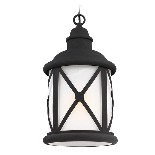 Sea Gull Lighting Etched Seeded Glass Outdoor Hanging Light Black Sea Gull Lighting 6221401BLE-12