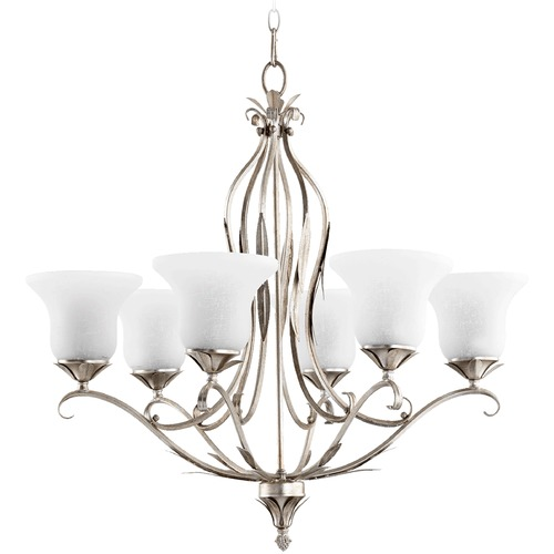 Quorum Lighting Quorum Lighting Flora Aged Silver Leaf Chandelier 6272-6-60