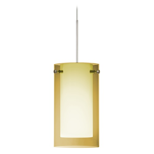 Besa Lighting Besa Lighting Pahu Satin Nickel LED Mini-Pendant Light with Drum Shade 1XT-Y44007-LED-SN