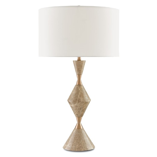 Currey and Company Lighting Currey and Company Arlen Beige/coffee Bronze Table Lamp with Drum Shade 6000-0013