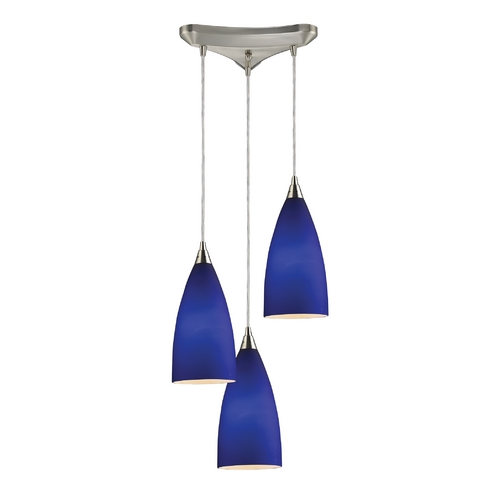 Elk Lighting Modern Multi-Light Pendant Light with Blue Glass and 3-Lights 2581/3