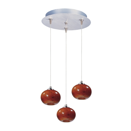 ET2 Lighting Modern Low Voltage Multi-Light Pendant Light with Amber Glass and 3-Lights E94635-106SN