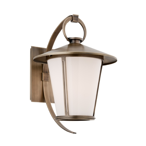 Troy Lighting Outdoor Wall Light with White Glass in Antique Brass Finish BF3253