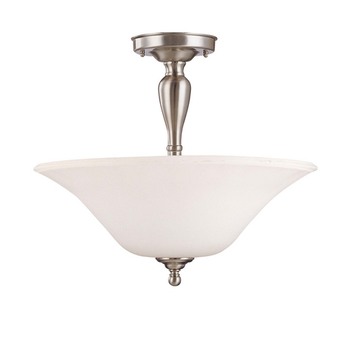 Nuvo Lighting Semi-Flushmount Light with White Glass in Brushed Nickel Finish 60/1907
