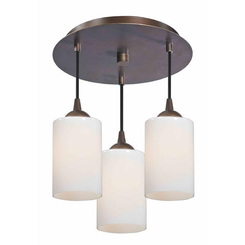 Design Classics Lighting 3-Light Semi-Flush Lightt with Opal White Glass - Bronze Finish 579-220 GL1024C
