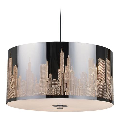 Elk Lighting Elk Lighting Skyline Polished Stainless Steel LED Pendant Light with Drum Shade 31038/3-LED