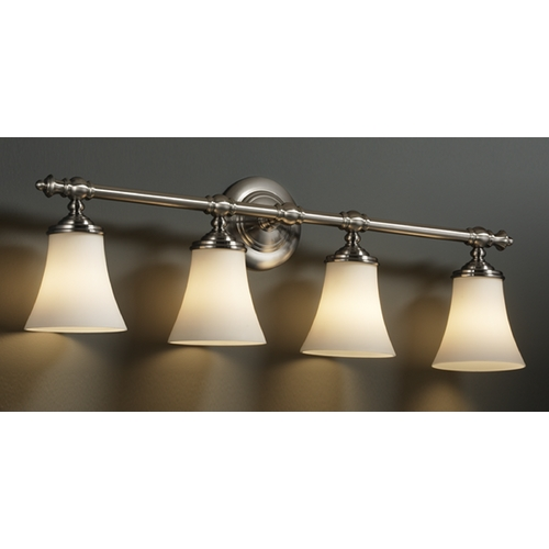 Justice Design Group Justice Design Group Fusion Collection Bathroom Light FSN-8524-20-OPAL-NCKL
