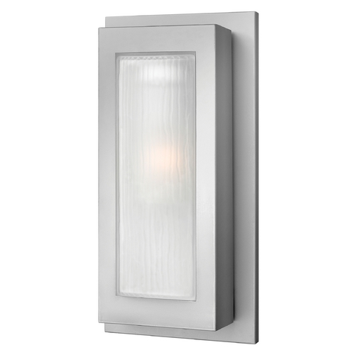 Hinkley Lighting Modern Outdoor Wall Light with White Glass in Titanium Finish 2054TT-GU24