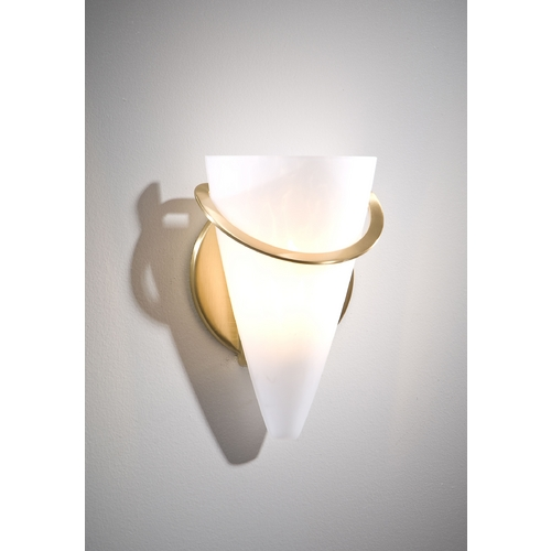 Holtkoetter Lighting Holtkoetter Modern Sconce Wall Light with White Glass in Brushed Brass Finish 2977 BB SCH