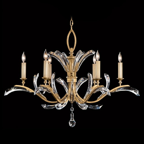 Fine Art Lamps Fine Art Lamps Beveled Arcs Gold Leaf Crystal Chandelier 761240ST