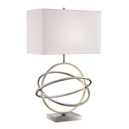 Lite Source Lighting Lite Source Orville Brushed Nickel Table Lamp with Rectangle Shade LS-23167
