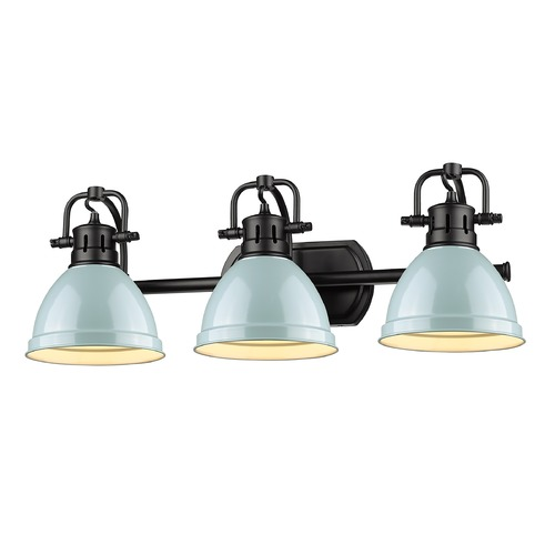 Golden Lighting Golden Lighting Duncan Black Bathroom Light with Seafoam Shade 3602-BA3BLK-SF