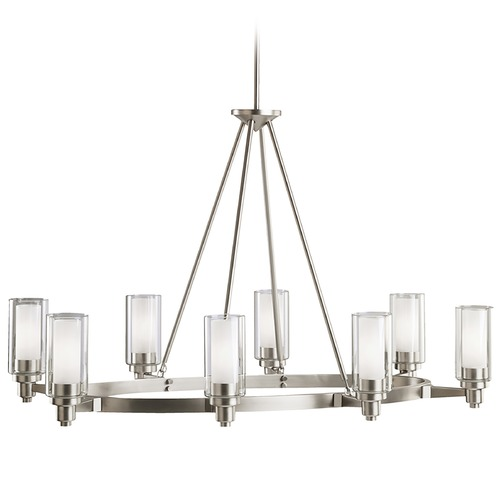 Kichler Lighting Kichler Modern Chandelier with Clear Glass in Brushed Nickel Finish 2345NI