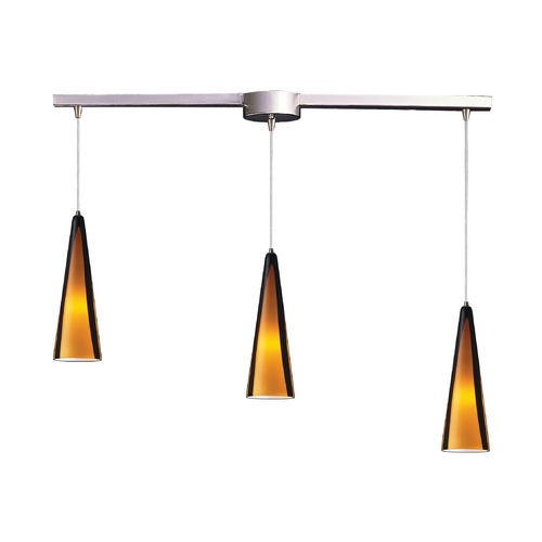 Elk Lighting Modern Multi-Light Pendant Light with Brown Glass and 3-Lights 545-3L-SAH