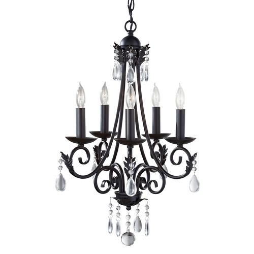 Feiss Lighting Crystal Chandelier in Black Finish F2758/5BK