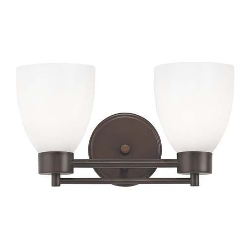 Design Classics Lighting Modern Bathroom Light with White Glass in Bronze Finish 702-220 GL1024MB