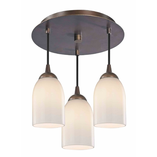 Design Classics Lighting 3-Light Semi-Flush Ceiling Light with Opal White Glass - Bronze Finish 579-220 GL1024D
