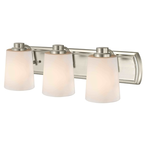 Design Classics Lighting 3-Light Bath Wall Light in Satin Nickel with White Glass 1203-09 GL1027