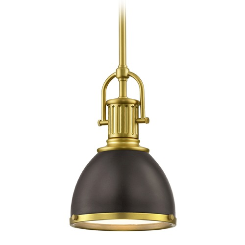 Design Classics Lighting Bronze Small Industrial Pendant Light with Brass 7.38-Inch Wide 1764-12 SH1775-220 R1775-12