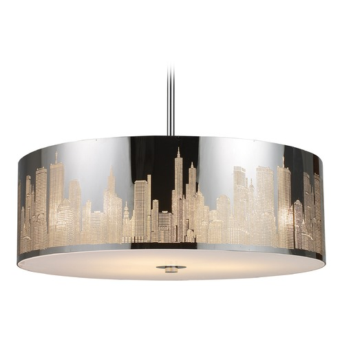 Elk Lighting Elk Lighting Skyline Polished Stainless Steel LED Pendant Light with Drum Shade 31039/5-LED