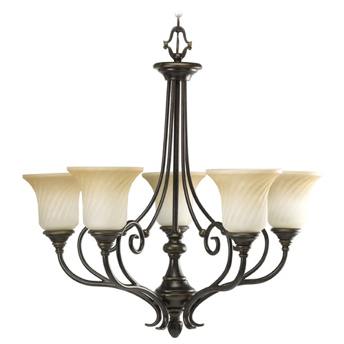Progress Lighting Progress Chandelier with Beige / Cream Glass in Forged Bronze Finish P4238-77