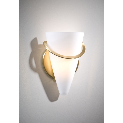 Holtkoetter Lighting Holtkoetter Modern Sconce Wall Light with White Glass in Brushed Brass Finish 2977 BB SW