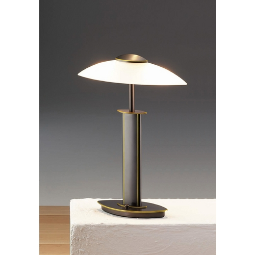 Holtkoetter Lighting Holtkoetter Modern Table Lamp with White Glass in Hand-Brushed Old Bronze Finish 6243 HBOB SW