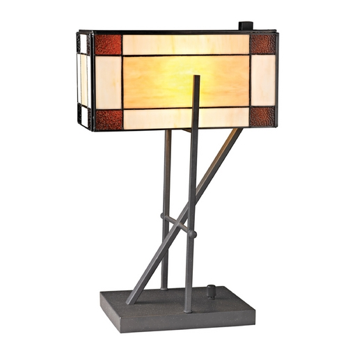 Dimond Lighting Table Lamp with Multi-Color Glass in Matte Black Finish D2540