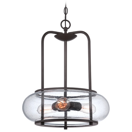 Quoizel Lighting Seeded Glass Pendant Light Bronze Quoizel Lighting TRG1816OZ