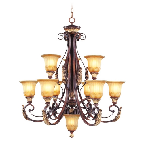 Livex Lighting Livex Lighting Villa Verona Bronze with Aged Gold Leaf Accents Chandeliers with Center Bowl 8579-63