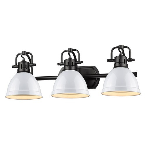Golden Lighting Golden Lighting Duncan Black Bathroom Light with White Shade 3602-BA3BLK-WH