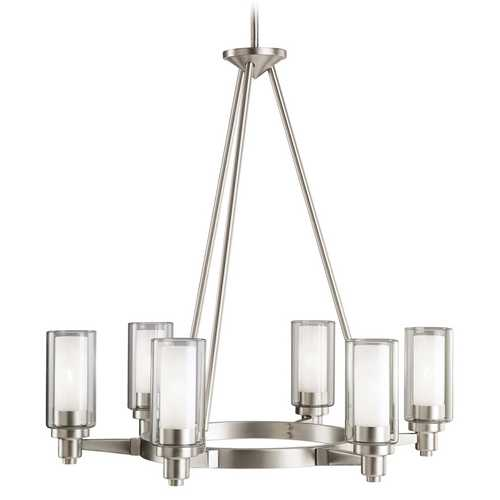 Kichler Lighting Kichler Modern Chandelier with Clear Glass in Brushed Nickel Finish 2344NI