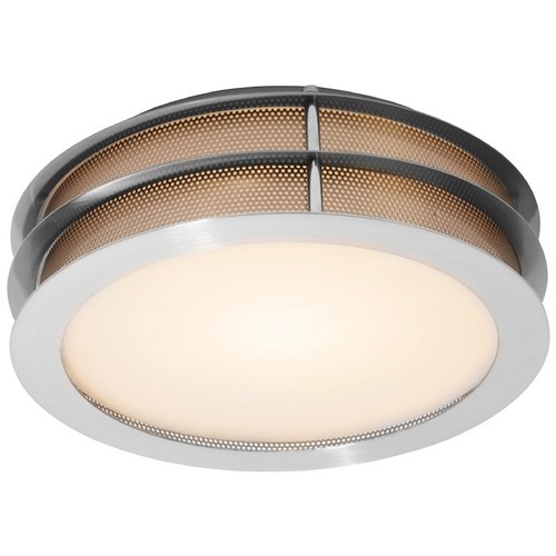 Access Lighting Modern Flushmount Light with White Glass in Brushed Steel Finish 50130-BS/FST