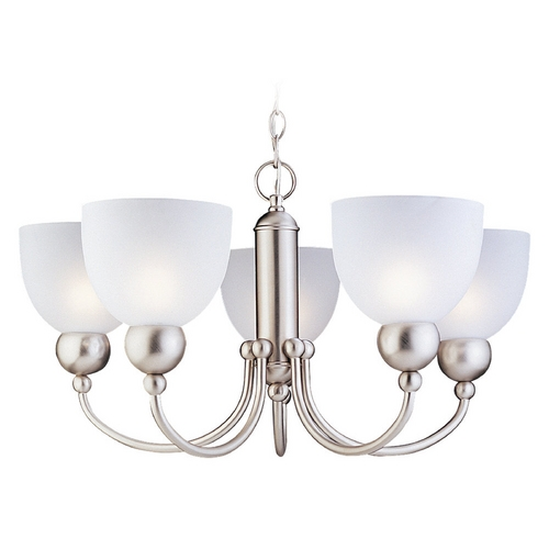 Sea Gull Lighting Modern Chandelier with White Glass in Brushed Nickel Finish 31036-962