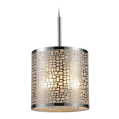 Elk Lighting Elk Lighting Medina Polished Stainless Steel LED Mini-Pendant Light with Cylindrical Shade 31041/1-LED