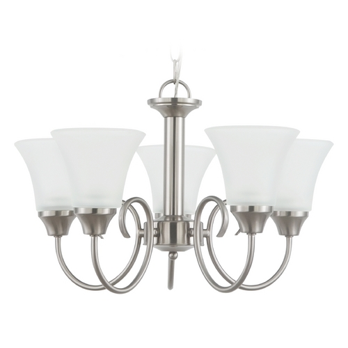 Sea Gull Lighting Mini-Chandelier with White Glass in Brushed Nickel Finish 31808-962