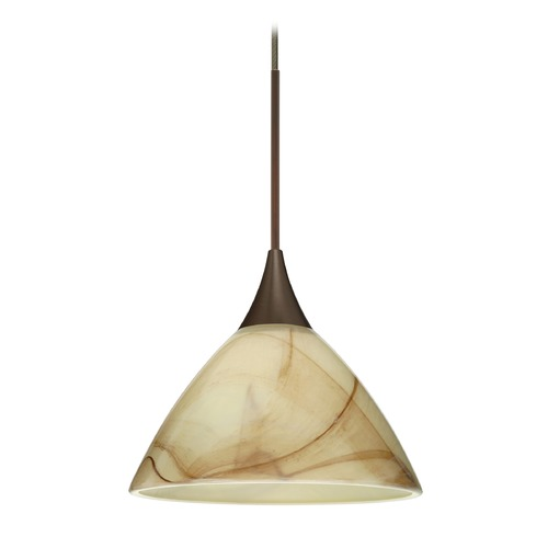 Besa Lighting Besa Lighting Domi Bronze Mini-Pendant Light with Bell Shade 1XT-174383-BR