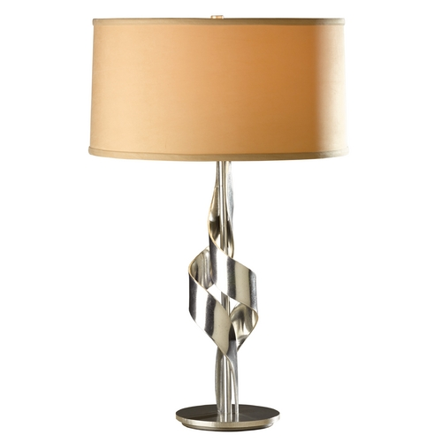 Hubbardton Forge Lighting Hubbardton Forge Lighting Flux Vintage Platinum Table Lamp with Drum Shade 272930-SKT-82-SB1695