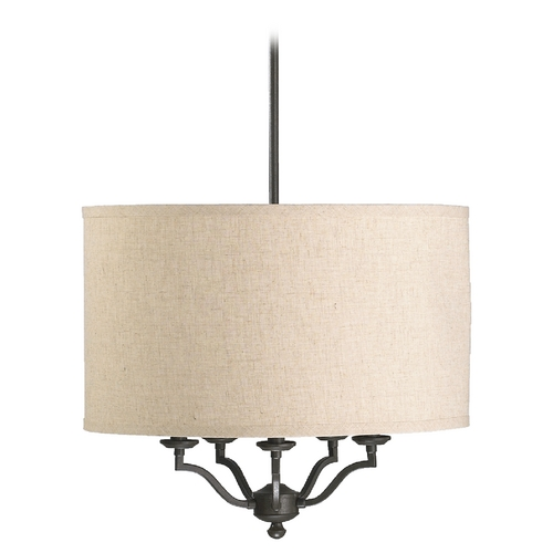 Quorum Lighting Quorum Lighting Atwood Oiled Bronze Pendant Light with Drum Shade 8096-5-86
