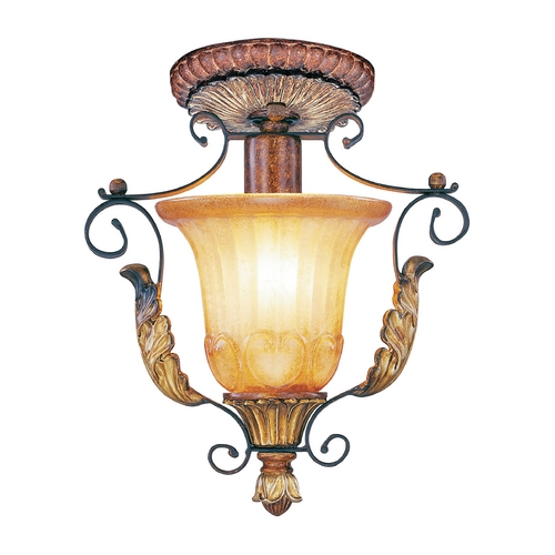 Livex Lighting Livex Lighting Villa Verona Bronze with Aged Gold Leaf Accents Semi-Flushmount Light 8578-63