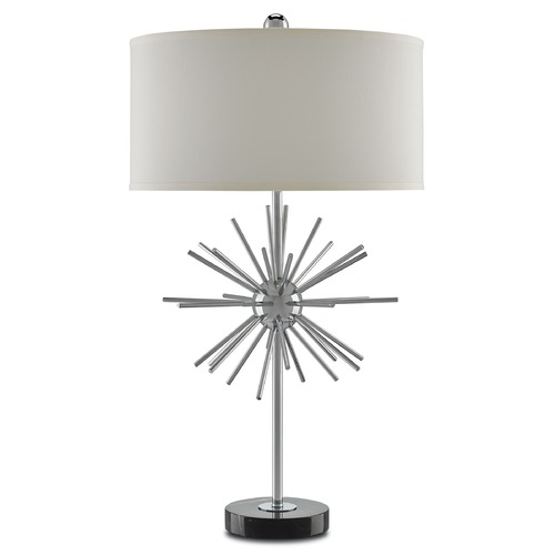 Currey and Company Lighting Currey and Company Trendsetter Chrome/black Table Lamp with Drum Shade 6000-0016
