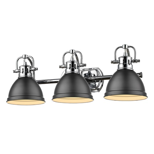 Golden Lighting Golden Lighting Duncan Chrome Bathroom Light with Matte Black Shade 3602-BA3CH-BLK