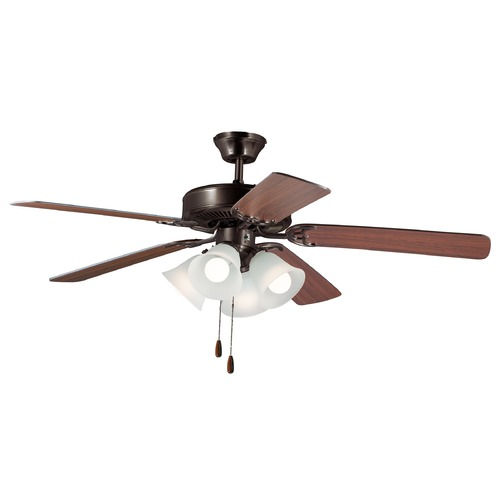 Maxim Lighting Maxim Lighting Basic-Max Oil Rubbed Bronze / Walnut / Pecan LED Ceiling Fan with Light 89907FTOIWP