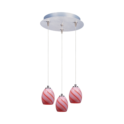 ET2 Lighting Modern Low Voltage Multi-Light Pendant Light with Multi-Color Glass and 3-Lights E94638-109SN