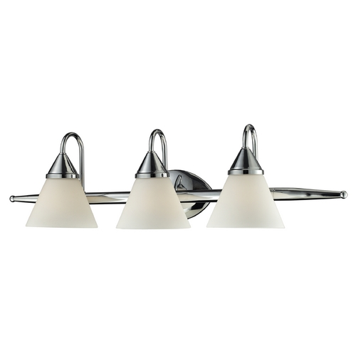 Elk Lighting Bathroom Light with White Glass in Chrome Finish 84067/3