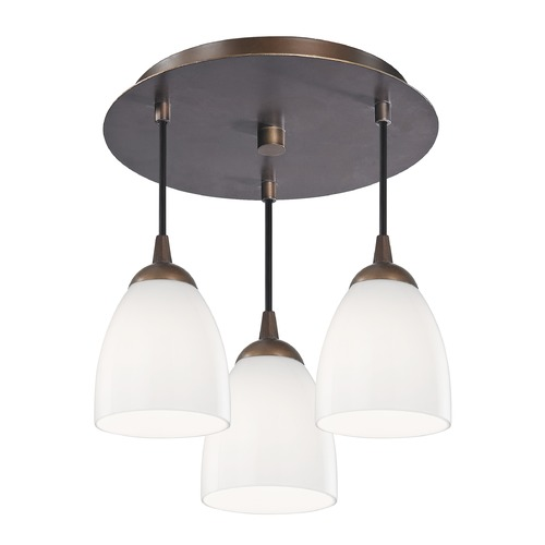 Design Classics Lighting 3-Light Semi-Flush Ceiling Lightt with Opal White Bell Glass - Bronze Finish 579-220 GL1024MB