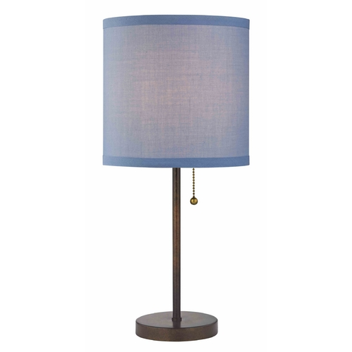 Design Classics Lighting Pull-Chain Table Lamp with Blue Linen Shade 1900-604 SH9526