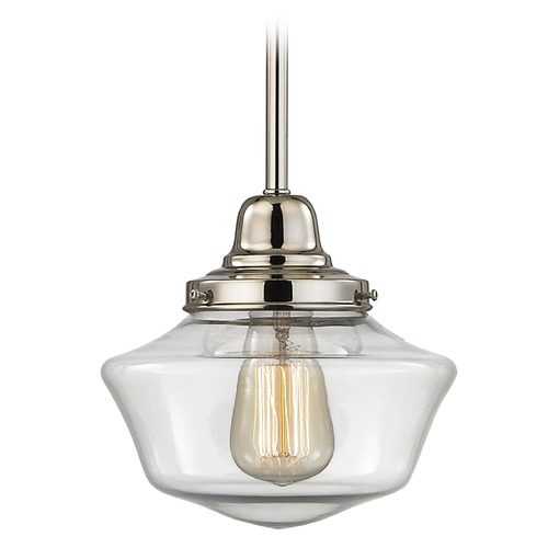 Design Classics Lighting 8-Inch Clear Glass Schoolhouse Mini-Pendant Light in Polished Nickel FB4-15 / GA8-CL