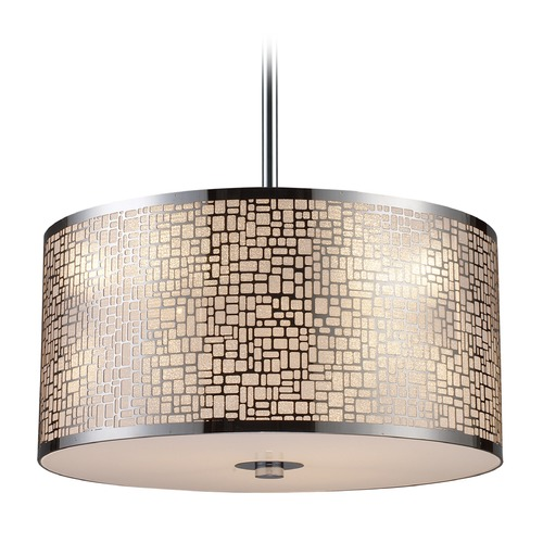 Elk Lighting Elk Lighting Medina Polished Stainless Steel LED Pendant Light with Drum Shade 31042/3-LED
